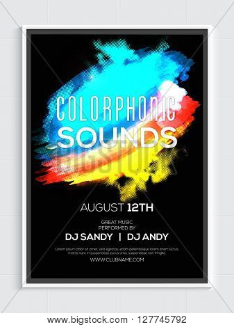 Colorful abstract design decorated, Musical Party Template, Dance Party Flyer, Night Party Banner or Club Invitation design.