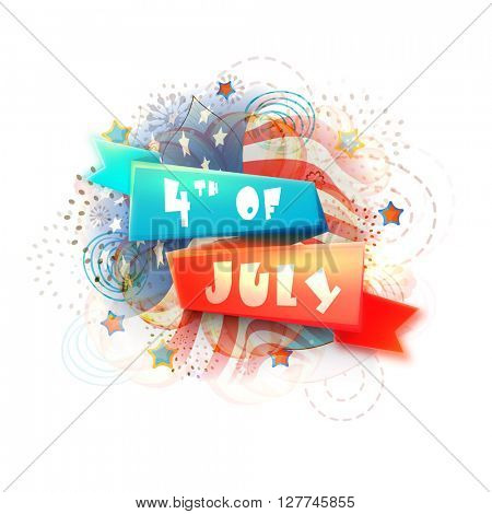 American Flag colors, Glossy Ribbon with stylish text 4th of July on creative abstract background for Independence Day celebration.