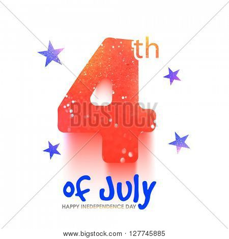 Creative glittering text 4th of July on stars decorated white background. Greeting card design for Happy American Independence Day celebration.