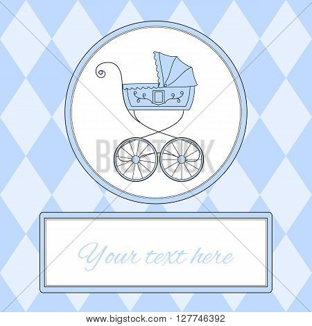 Baby boy arrival card or invitation in pink colors with retro styled baby carriage and place for text, vector illustration