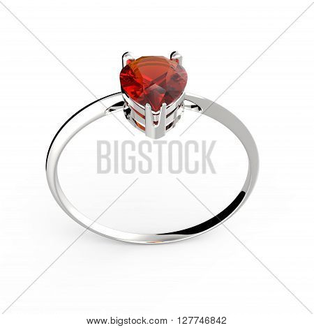 Wedding ring with diamond on a white background.  3d digitally rendered illustration