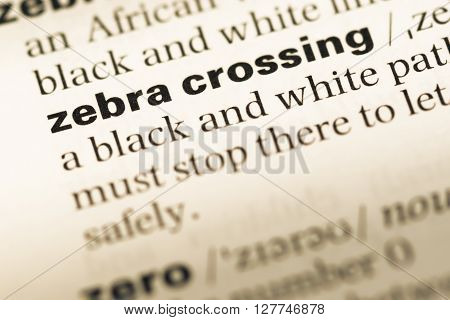Close Up Of Old English Dictionary Page With Word Zebra Crossing.