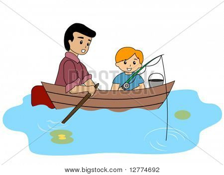 Boy and Dad Fishing - Vector