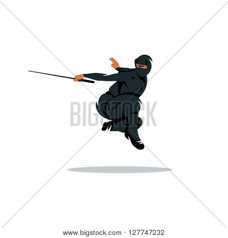 Warrior in black dress sword strikes in a jump Isolated on a White Background