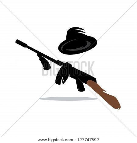 Hat and weapon of Prohibition Alcohol Time Isolated on a White Background
