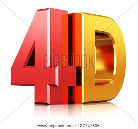 3D render illustration of color shiny metallic 4D film movie sign symbol or logo isolated on white background with reflection effect