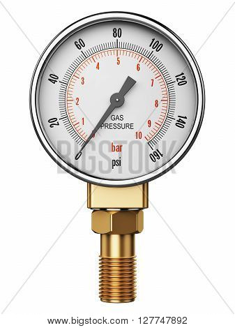 3D render illustration of metal steel high pressure gauge meter or measuring manometer with brass fitting isolated on white background