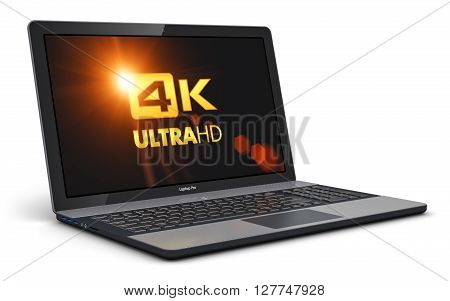 3D render illustration of modern black glossy professional business laptop or office notebook with 4K UltraHD display screen resolution isolated on white background