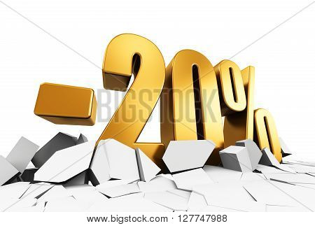 3D render illustration of golden minus 20 percent price cut off text on cracked surface isolated on white background