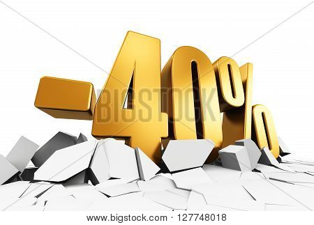 3D render illustration of golden minus 40 percent price cut off text on cracked surface isolated on white background