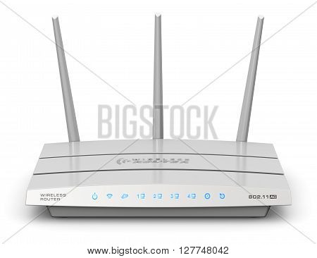 3D render illustration of modern white broadband internet router switch modem isolated on white background