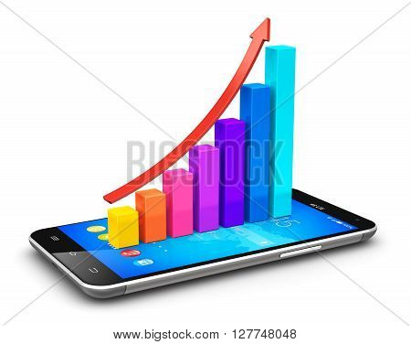 3D render illustration of modern black glossy touchscreen smartphone or mobile phone with color growth bar graph isolated on white background