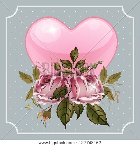 Vintage Valentines Day greeting card With Vintage Roses and Heart