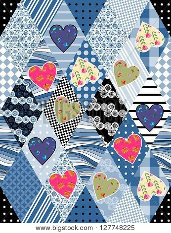Seamless patchwork pattern with applique of colorful hearts. Beautiful vector illustration of quilt.