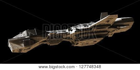 Science fiction illustration of an interplanetary gunship, isolated on black, side view with low lighting, 3d digitally rendered illustration (3d rendering, 3d illustration)