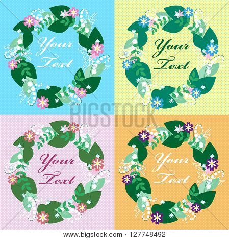Colorful Floral Greeting Card. International Happy Mothers Day With Bunch Of Spring Flowers. Womens