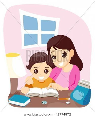 Mamá enseñando a su hijo - Vector