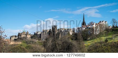 View towards Edinburgh Old Town from Princes Street