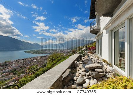 beautiful view of the Lake Maggiore from the balcony of a villa