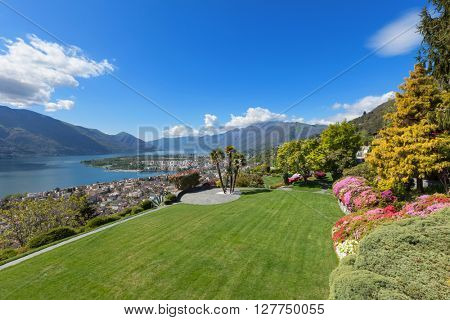 beautiful view of the Lake Maggiore from the garden of a villa