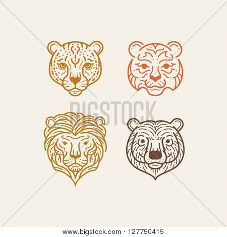 Set of animal head line illustration