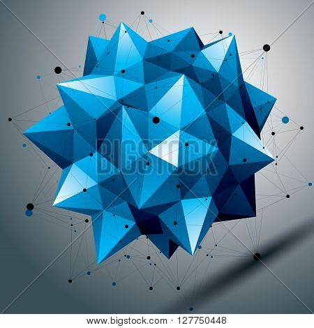 Vector Complicated 3D Sharp Figure, Modern Digital Technology Style Form. Abstract Unusual Colorful