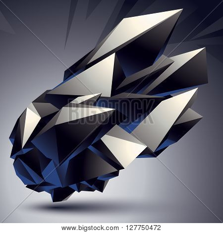 Complicated Abstract Grayscale 3D Shape, Vector Digital Object. Technology Theme.