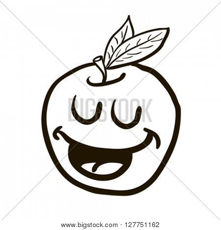 black and white freehand drawn happy apple cartoon illustration