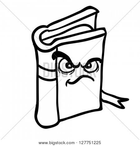 black and white angry book cartoon illustration isolated on white