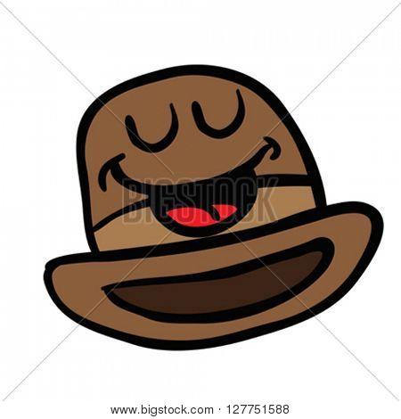 happy bowler hat cartoon illustration