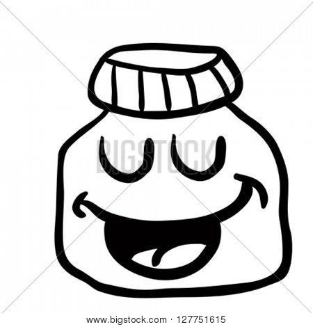 black and white happy jam jar cartoon illustration