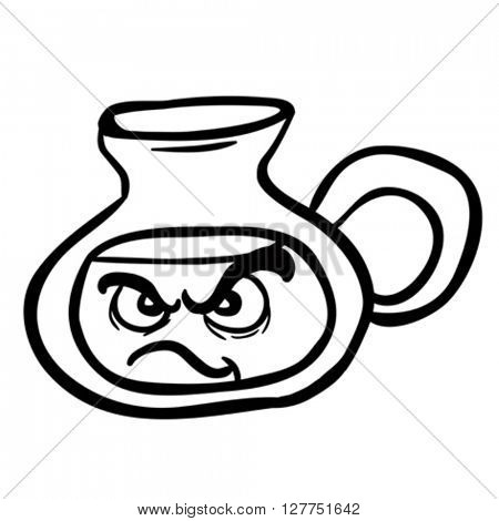 black and white angry lemonade jug cartoon illustration