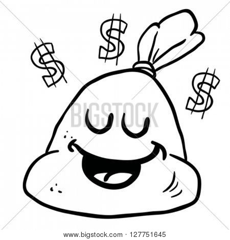 black and white happy money bag cartoon illustration