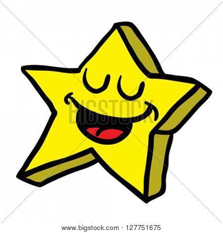 happy star cartoon illustration isolated on white
