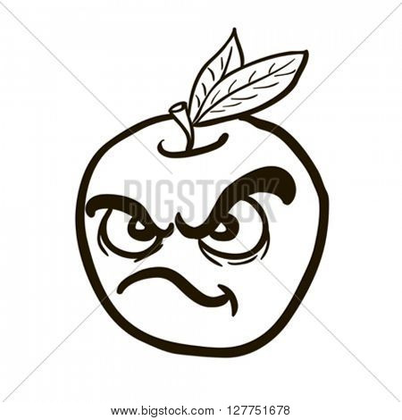 black and white freehand drawn angry apple cartoon illustration