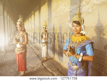 Traditional Aspire Dancers Cambodia Concept