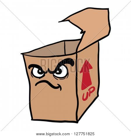 angry freehand drawn cartoon illustration empty box