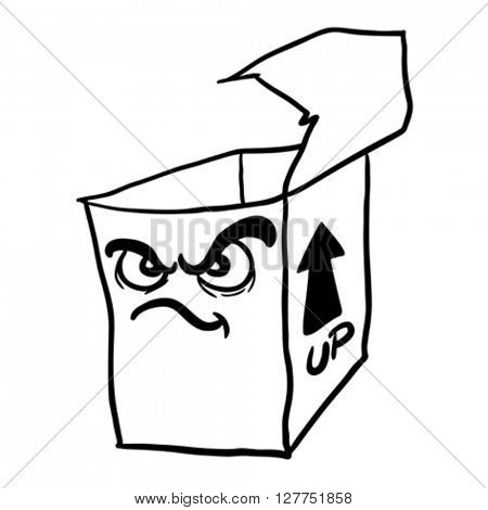 black and white angry freehand drawn cartoon illustration empty box