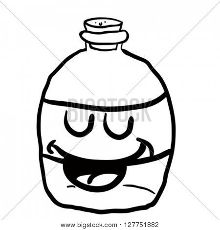 black and white happy empty bottle cartoon