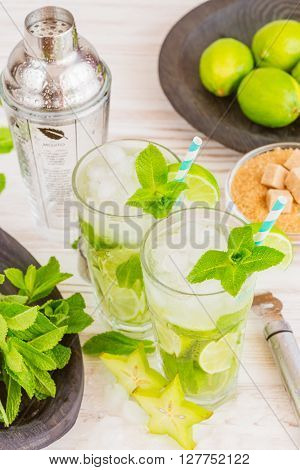 Two fresh mojitos cocktail in martini glasses on wooden background. Mojitos with mint leaves, lime and ice.