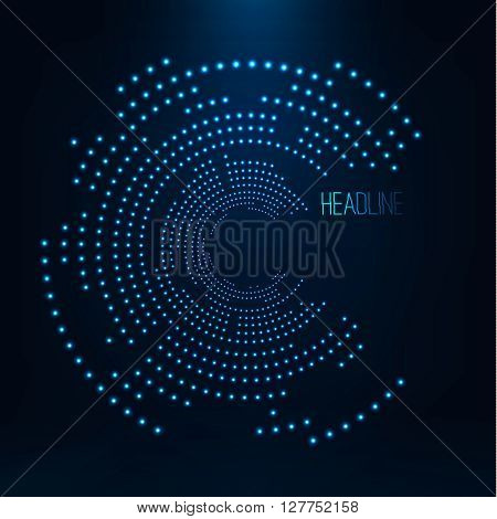 Abstract geometric technology shape of glowing particles .Broken light neon dots and Network connection. Neon circles consist of lights .Vector digital HUD illustrations futuristic background