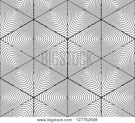 Contrast Black And White Symmetric Seamless Pattern With Interweave Figures. Continuous Geometric 3D