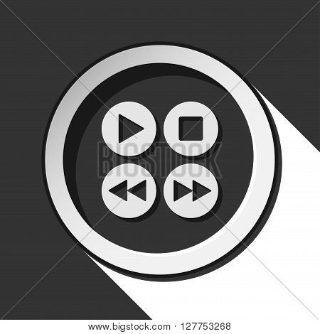black icon - four music control buttons with white stylized shadow