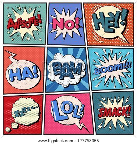 Comic Bubbles Set. Pop Art Vector illustration