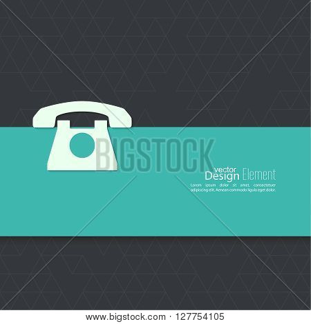Abstract background with an old rotary telephone. Call technical support. Contacts.