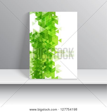 Magazine Cover with leaves, triangles. For book, brochure, flyer, poster, booklet, leaflet, postcard, business card, annual report. green, Spring.