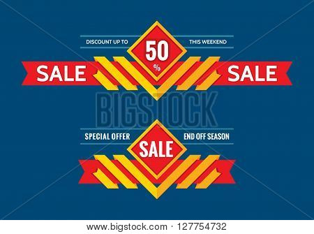 Sale - discount up to 50% - end off season - vector concept horizontal banner. Special offer - this weekend - creative vector layout.