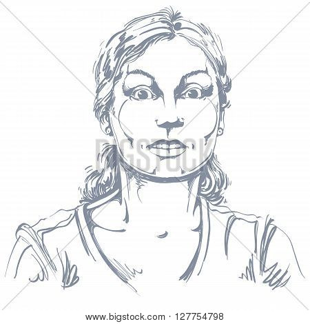 Vector portrait of scared woman illustration of amazed or frightened female. Person emotional face expression surprise.