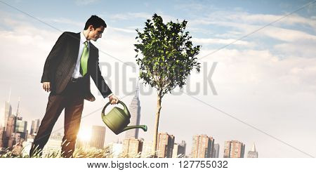 Plant Watering Growth Environmental Conservation Concept