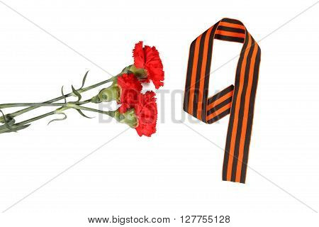 Three Red Flower And Number 9 On A White Background. Isolated